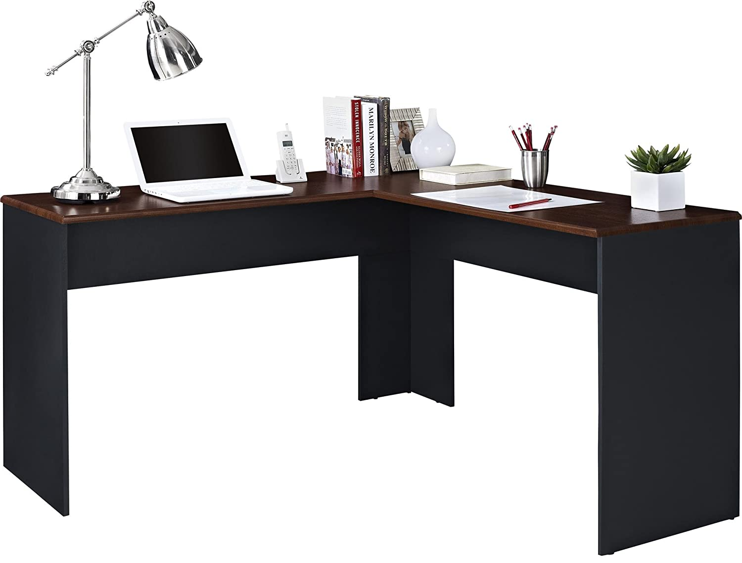 Amazon.com: Ameriwood Home The Works L-Shaped Desk, Cherry: Kitchen ...