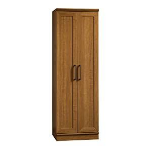 "Sauder 411963 Homeplus Storage Cabinet, L: 23.31"" x W: 17.01"" x H: 71.18"", Sienna Oak finish"