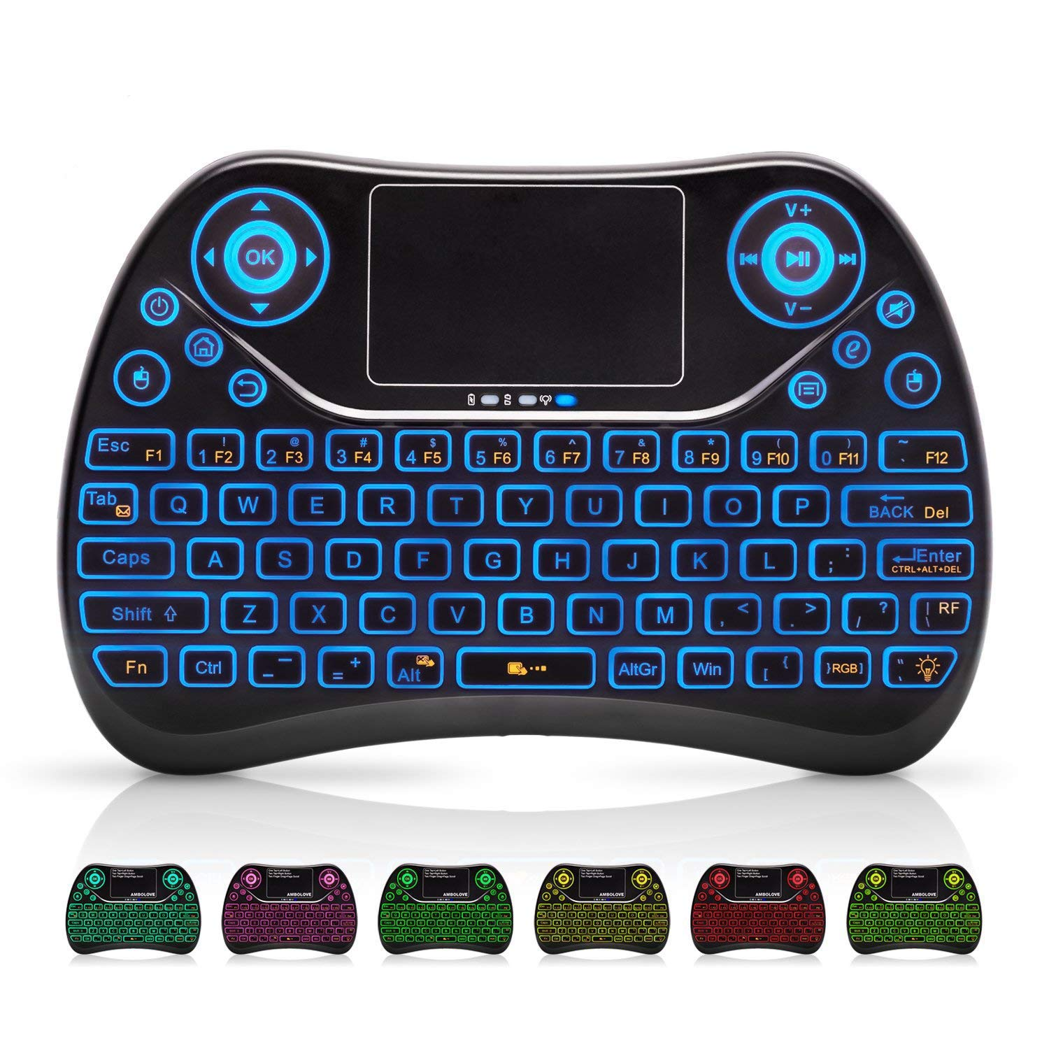 ffb3e2b6960 Amazon.com: Mini Wireless Keyboard, Remote Keyboard with Multimedia Keys,  2.4GHZ USB Rechargable Android Remote for TV Box, Mini Keyboard for Smart  TV,IPTV ...