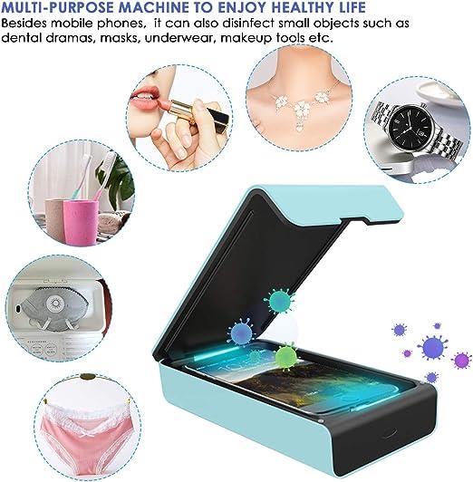 Ruiqas Caja Esterilizadora Ultravioleta Multifuncional para Teléfono Móvil Caja de Desinfección con Máscara de Luz Ultravioleta Portátil Dual: Amazon.es: Hogar