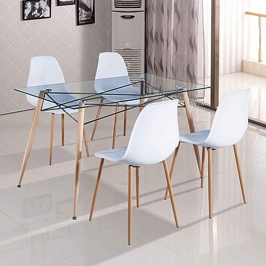 DecoInParis - Mesa de Comedor de Cristal + 4 sillas escandinavas ...