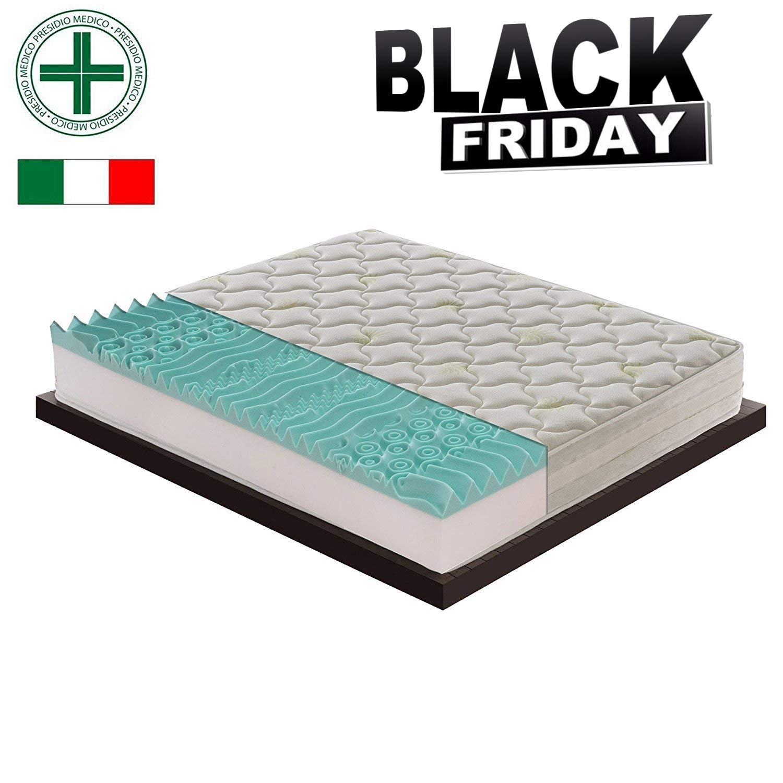 Materasso in memory foam con 11diverse zone, certificatomedicalmente, Polifoam, 100% prodotto in Italia, con 5cm di memory foam, 120×190 Prezzi offerte