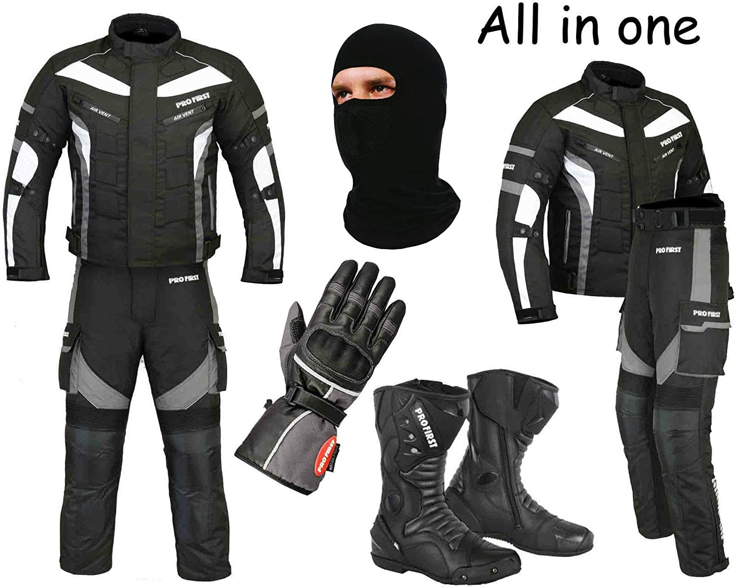 Jacket Balaclava Racing Touring Events - Gloves A Full Set of Waterproof Motorbike Motorcycle Moped 2 Piece Suit in Cordura Fabric and CE Approved Armour Trouser Grey - X-Large Boots