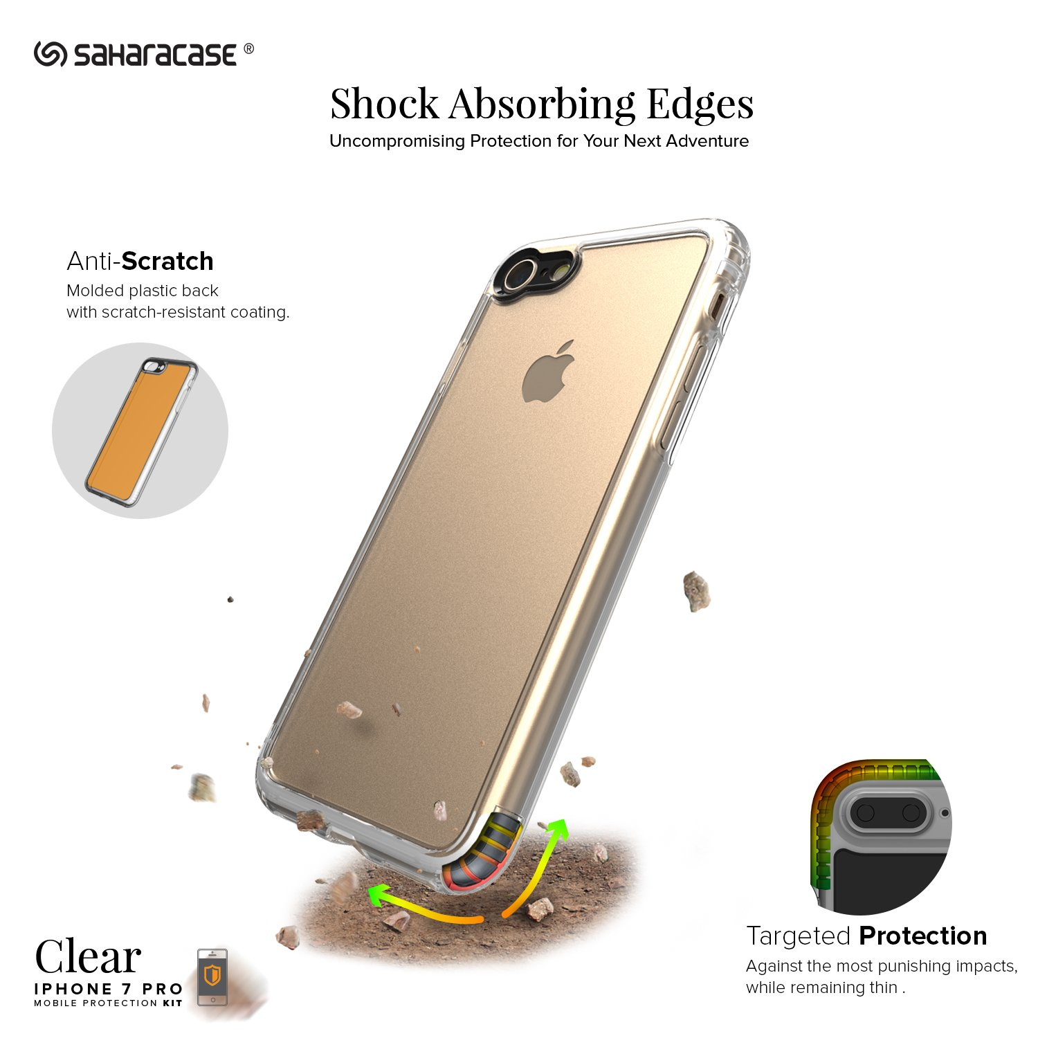 Saharacase iphone 6 6s crystal clear case rose gold edge saharacase - Amazon Com Iphone 8 And 7 Case Saharacase Clear Protective Kit Bundled With Zerodamage Tempered Glass Screen Protector Rugged Slim Fit Shockproof Bumper