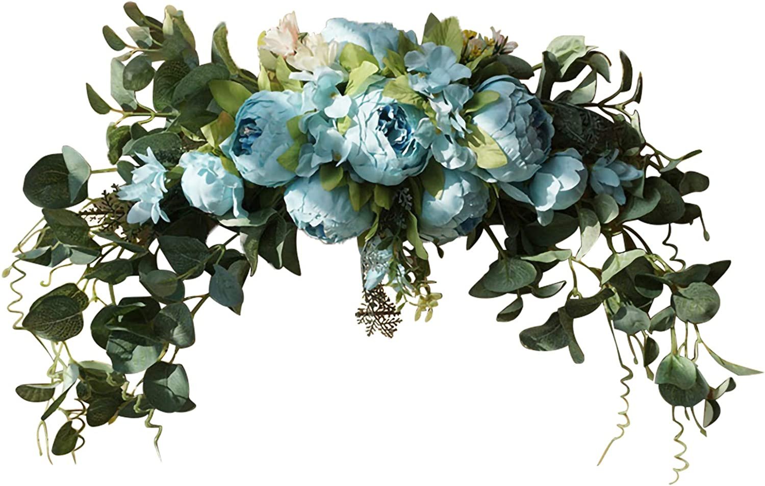 Aojie Wedding Arch Flowers,Artificial Peony Flower Swag,Decorative Swag with Poeny and Green Leaves,Rose Peony Swag Arch Wreath Centerpiece for Wedding Arch Front Door Wall Decor