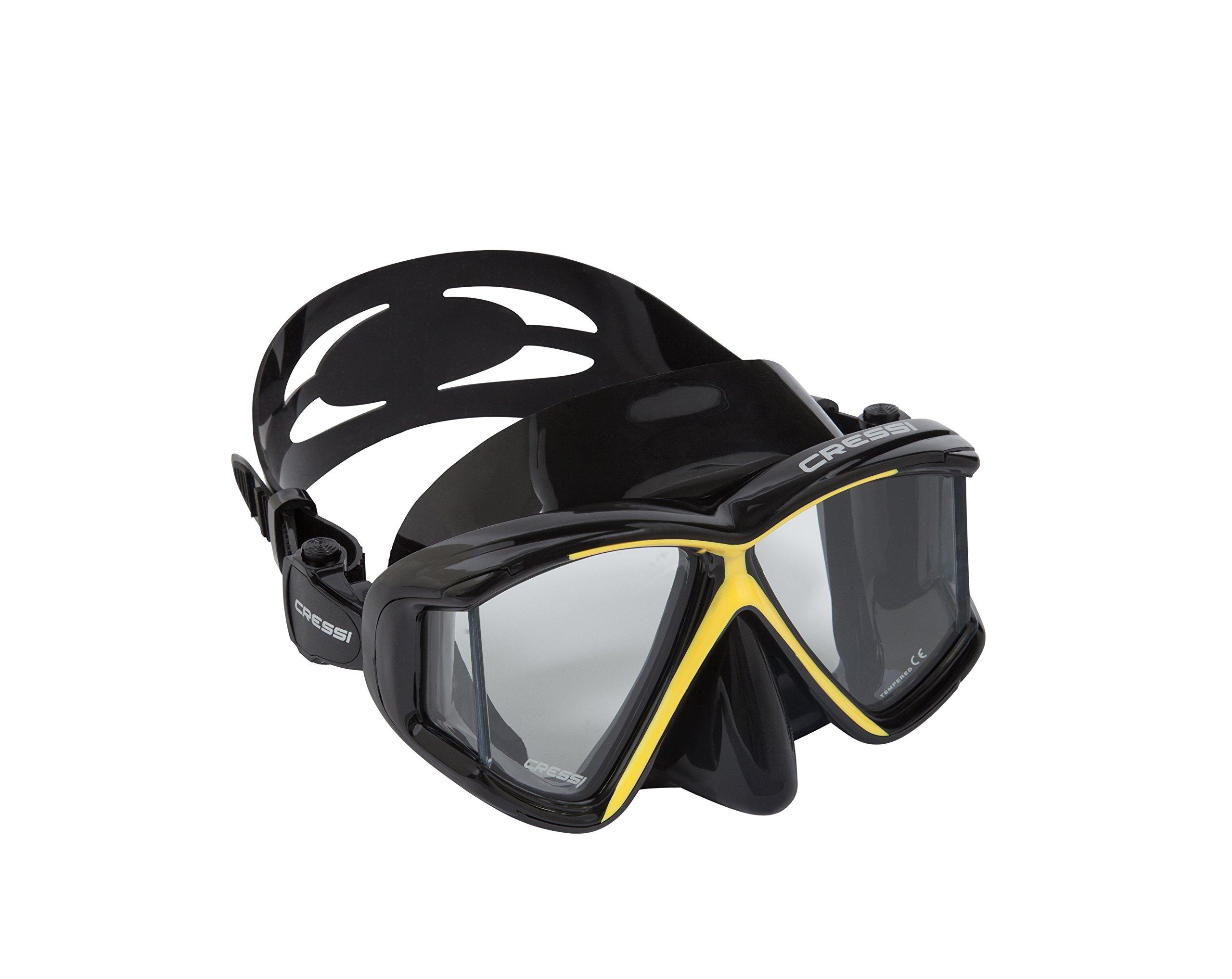 Cressi Panoramic 4 Window Dive Mask - Black/Yellow by Cressi