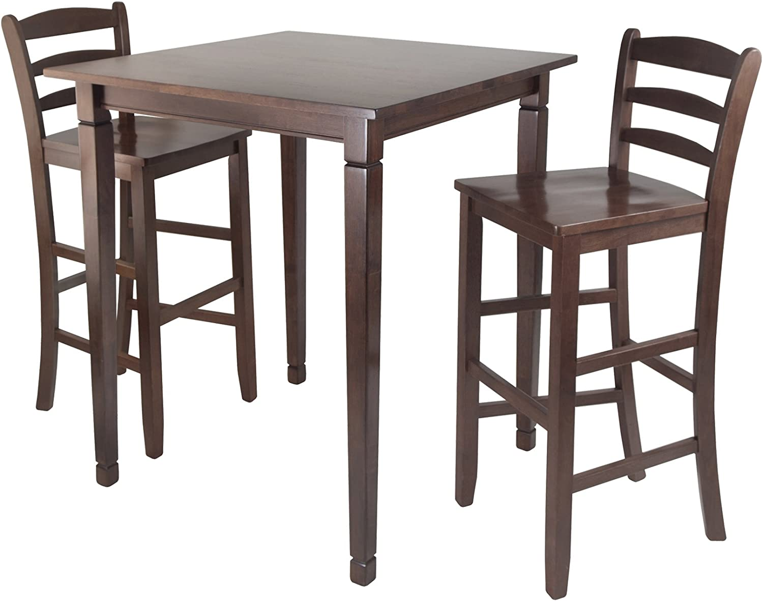 Winsome Kingsgate High/Pub Dining Table with Ladder Back High Chair, 12-Piece