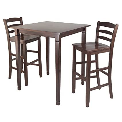 Fabulous Winsome Kingsgate High Pub Dining Table With Ladder Back High Chair 3 Piece Beutiful Home Inspiration Cosmmahrainfo