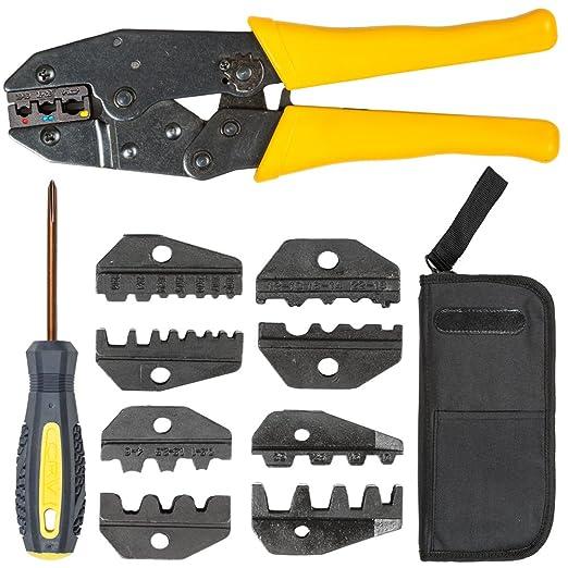 TecTake Crimpadora tenaza crimpar alicate engarzador herramienta terminales - varias tamaños - (0,5-6 mm² | no. 401636): Amazon.es: Hogar