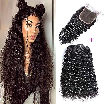 d0e083995 Brazilian Curly Human Hair 3 Bundles with Lace Closure Free Part 100%  Unprocessed Brazilian Deep