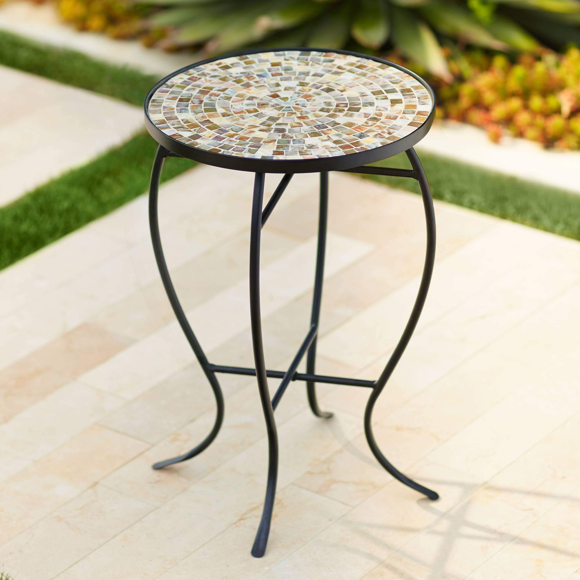 Teal Island Designs Mother of Pearl Mosaic Black Iron Outdoor Accent Table by Teal Island Designs