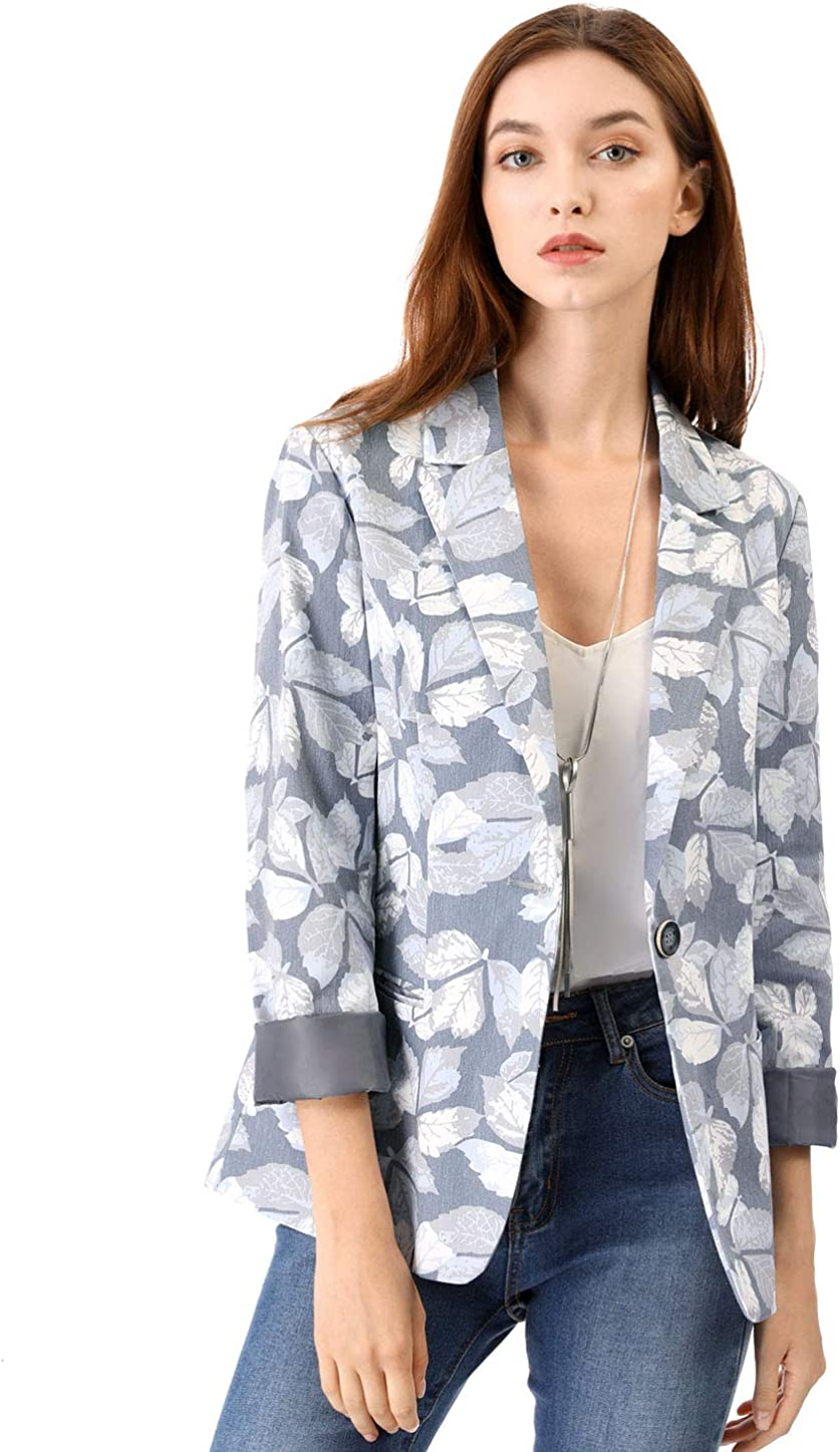 Allegra K Women's Classic One Button Boyfriend Printed Blazer Jacket