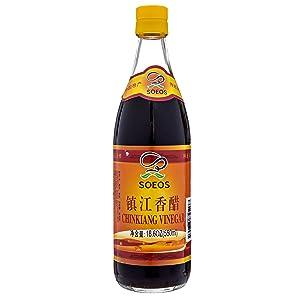 Soeos Chinkiang Vinegar, Chinese Black Vinegar, Xiangcu Vinegar, Traditional Black Chinese Vinegar, Zhenjiang Black Vinegar, Zhenjiang Xiangcu, 18.6 fl oz (550ml)
