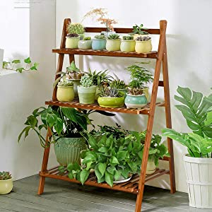 Giantex Folding Bamboo Plant Stand, 3-Tier Flower Pot Rack Display Shelf, Foldable Plants Holder Organizer Storage Shelving for Patio Garden Balcony Home Indoor Outdoor (Brown)