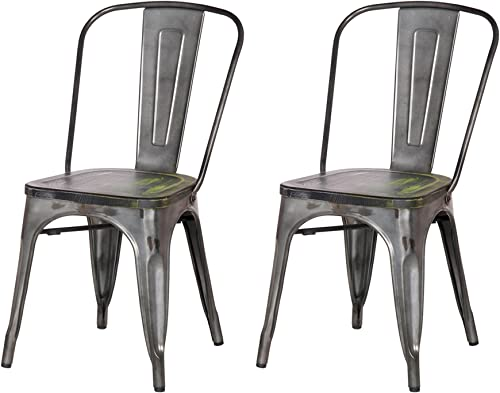 Adeco 2016 New Metal Stackable Industrial Chic Dining Bistro Cafe Side Chair