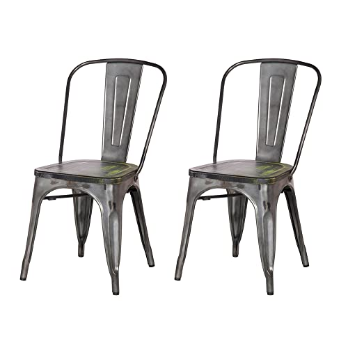 Adeco 2016 New Metal Stackable Industrial Chic Dining Bistro Cafe Side Chairs with Wood Seat,Distressed Dimgrey,Set of 2