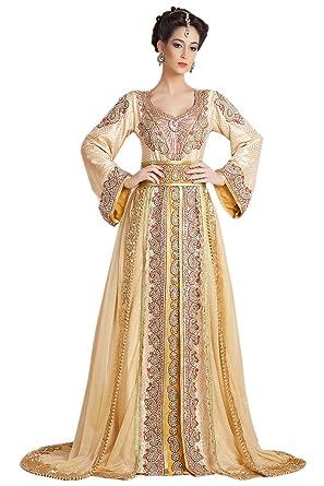 a6ebf77036 PalasFashion Women's Designer Hand Beaded Long Sleeve Moroccan Party Wedding  Kaftan UK Size 6