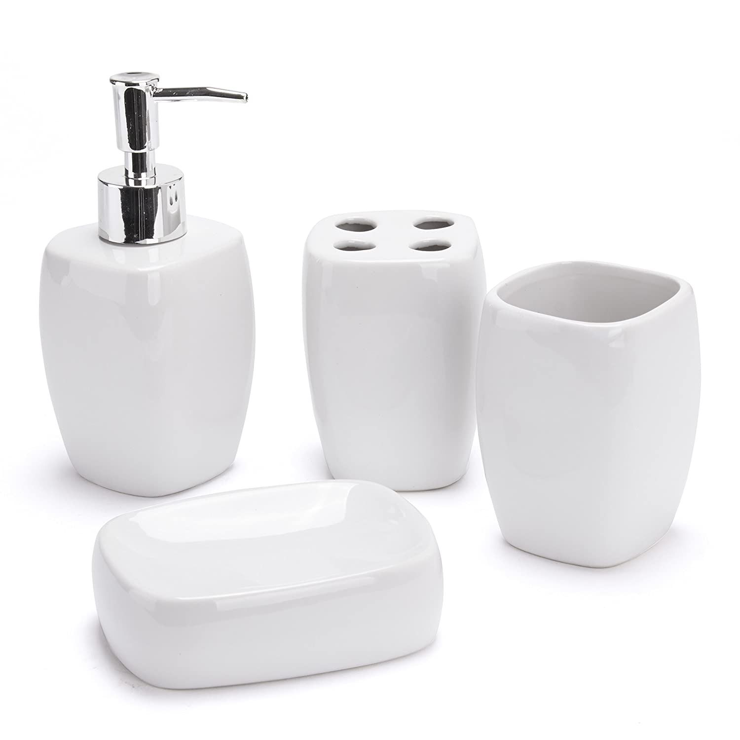 4 Piece Off White Ceramic Bathroom Accessory Set Tumbler, Soap Dish, Dispenser Homeware Needs