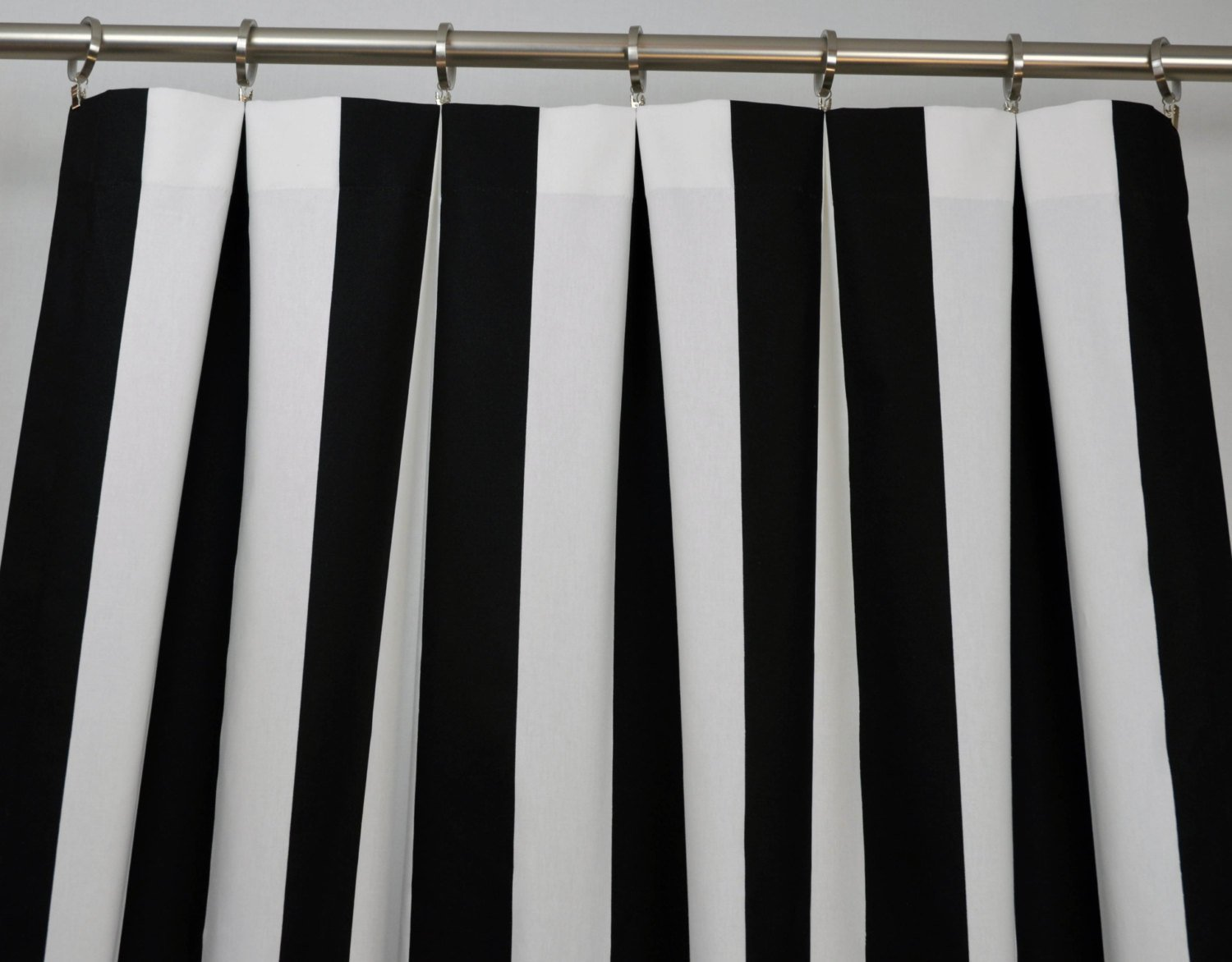 amazoncom black and white vertical stripe drape one rod pocket curtain panel 120 inches long x 50 inches wide home kitchen