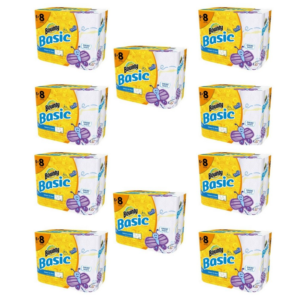 Basic Bounty Basic Select-A-Size Paper Towels, Spring Print, 6 Big Rolls = 8 Regular Rolls - Pack of 10 by Bounty lc