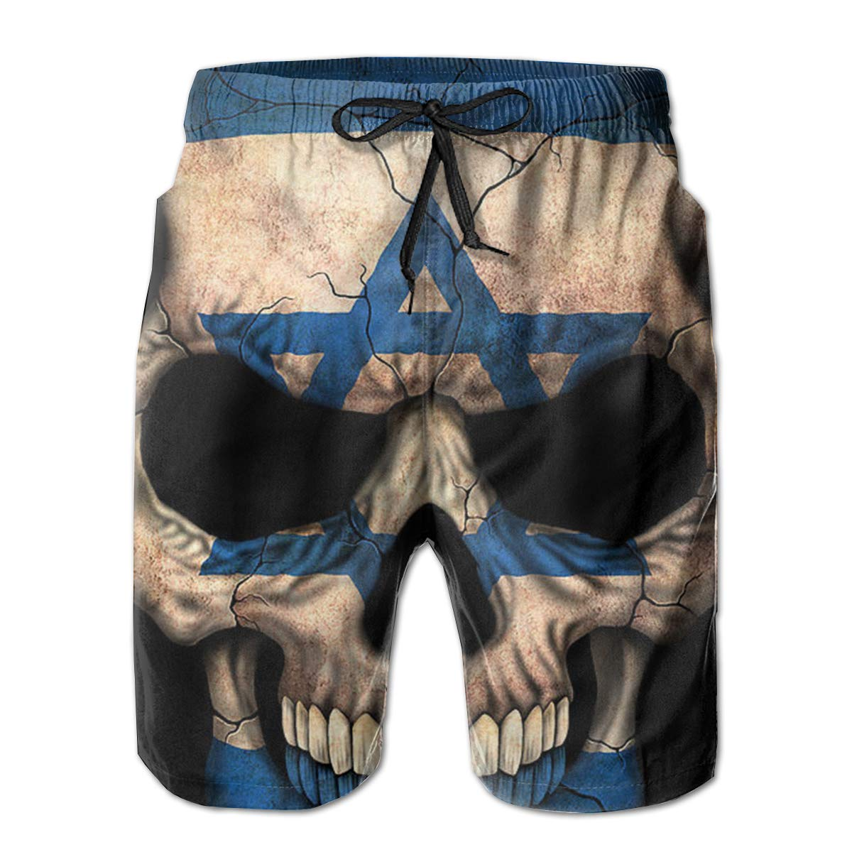 K-Dark Israeli Flag Skull Mens Summer Surf Board Short Swim Trunks Bathing Suit