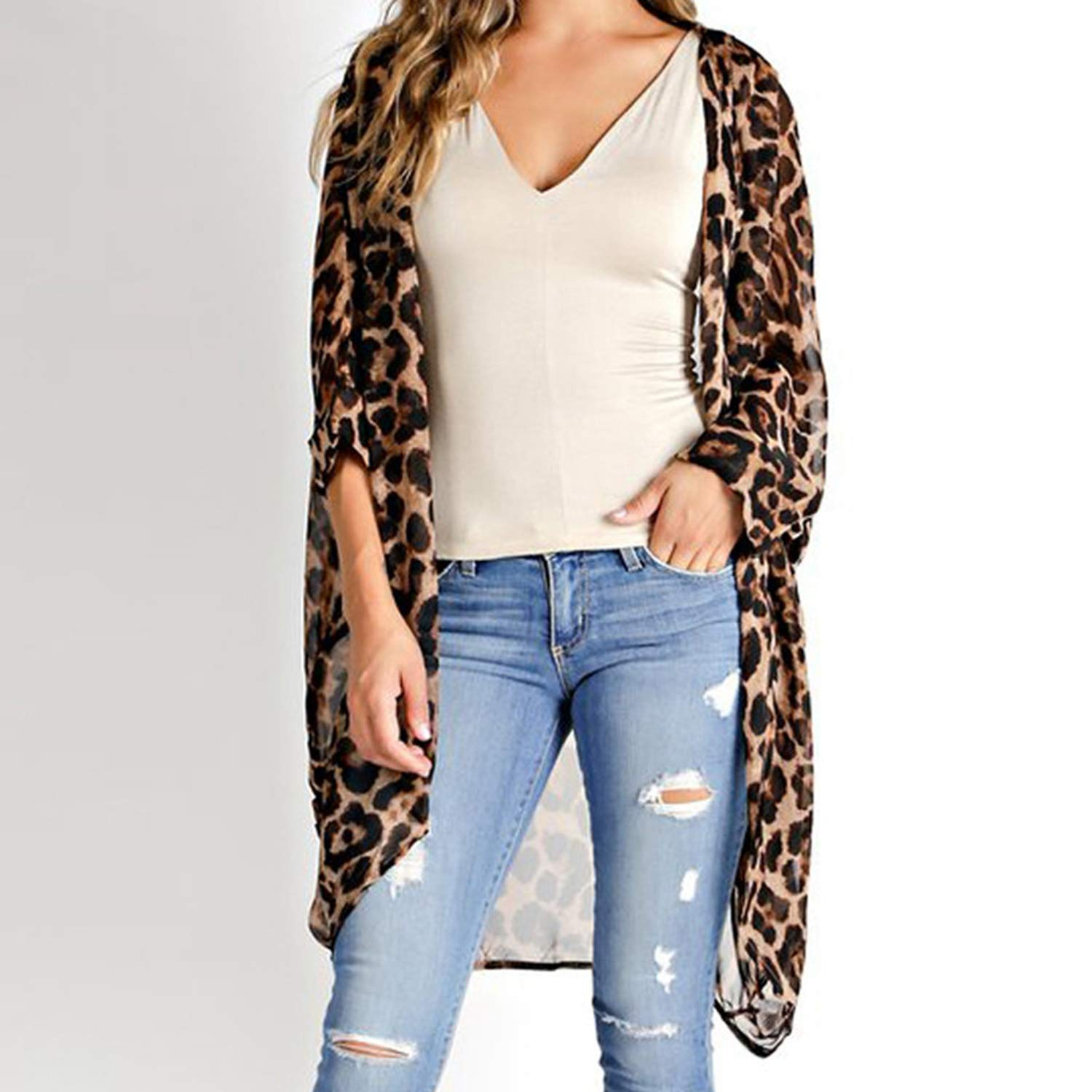d10296cfdf76 Plus Size 5XL Women Long Vintage Cardigan Leopard Printed Blouse 2019 Casual  Loose Beach Cover Up Summer Top Shirt at Amazon Women's Clothing store: