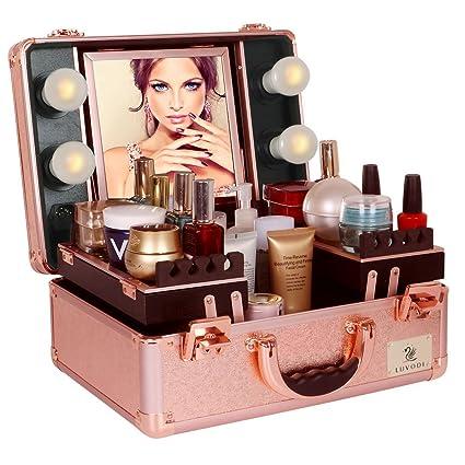 LUVODI® Maleta Profesional de Maquillajes, Maletín de Cosméticos, Estuche de Maquillajes Profesional, con 4 Bombillas de Luces y Espejo