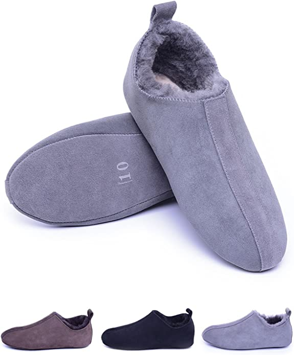 Men/'s Brown Color Suede Leather Shearling Slippers Sheepskin Slippers Valentine Day Gift Winter Slip-Ons Turkish Slippers Flat Slippers