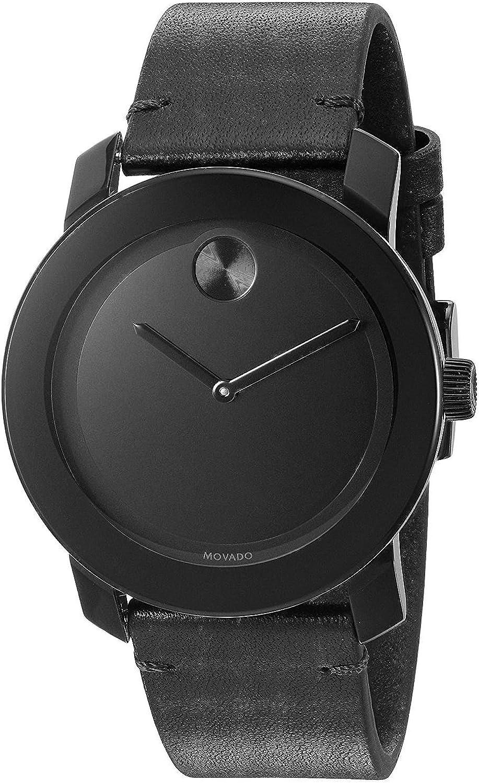 Movado Bold Reloj de hombre cuarzo suizo 42mm correa de cuero genuino 3600306