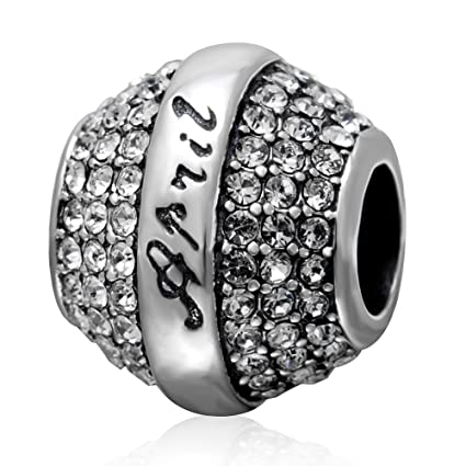 157d69a8c424f7 jan-dec Birthstone charm con cristallo bracciale Pandora con perline in  argento Sterling 925 per regalo di compleanno April Birthstone: Amazon.it:  Casa e ...