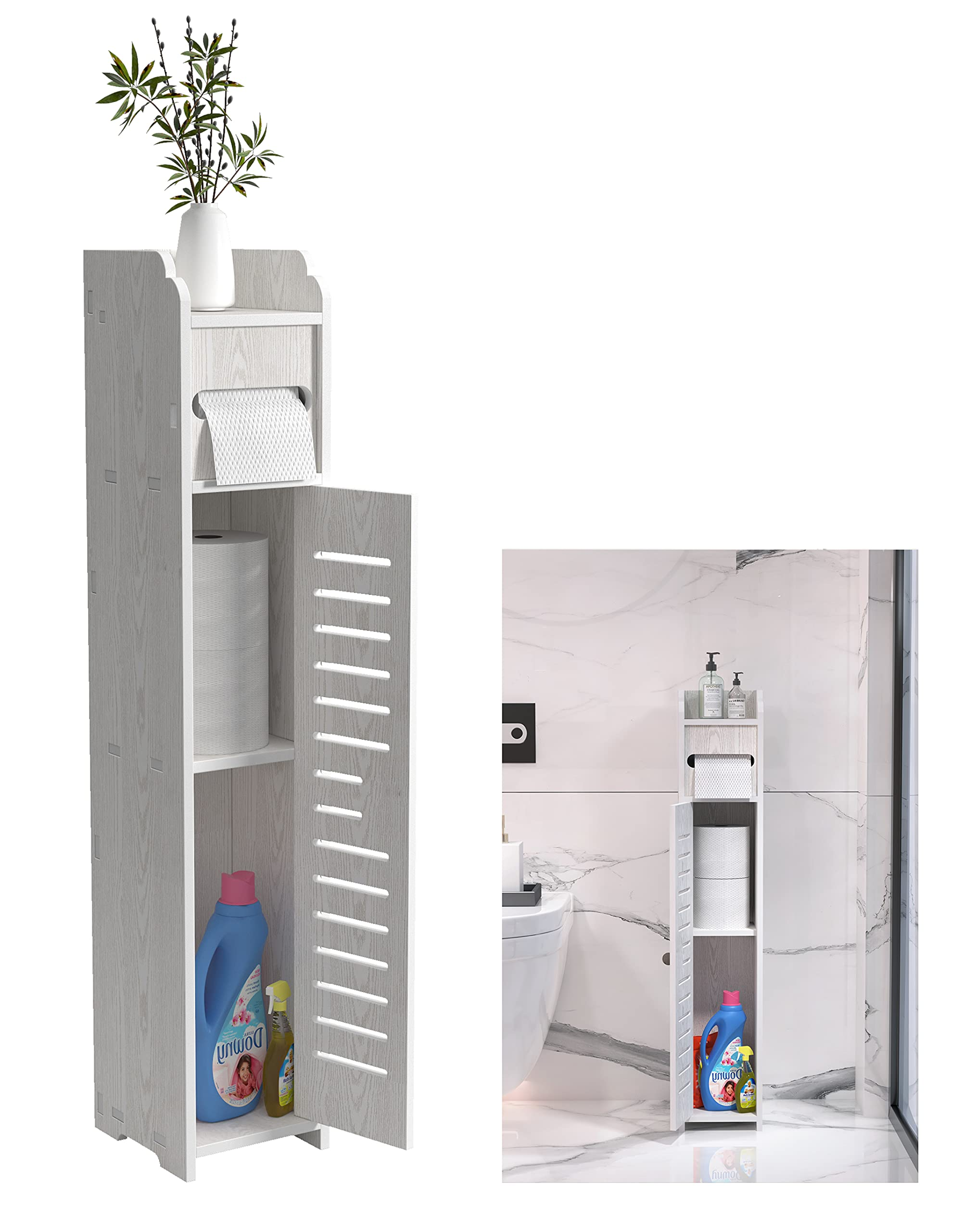 Doxo Small Bathroom Storage Cabinet Floor Cabinet with Doors and ShelvesBathroom Organizer
