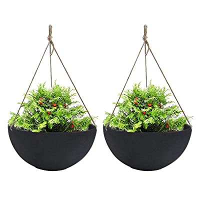 "Large Hanging Planters for Outdoor Indoor Plants, Black Hanging Flower Pots with Drain Holes (13.2"", Set of 2): Garden & Outdoor"
