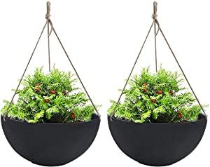 Hanging Planters Large 2 Pack 13.2 Inch Indoor Outdoor, Resin Unbreakable Garden Planters for Plants and Flower, with Drain Hole, Large Black