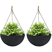 LA JOLIE MUSE Large Hanging Planters for Outdoor Indoor Plants, Black Hanging Flower Pots with Drain Holes (13.2