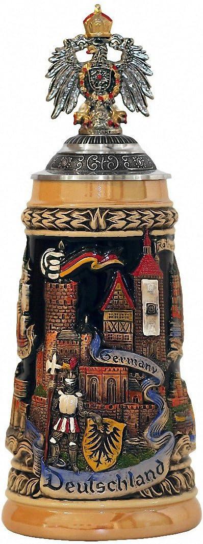 Zöller & Born Jarra de Cerveza Alemania con una tapadera de estaño y un águila de estaño, Amarillo, Jarra 0,5 litros ZO 1746/9913