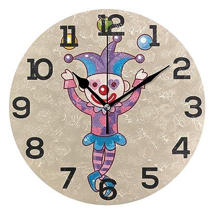Amazon com: JERECY Cute Clown Joke Wall Clock Silent Non Ticking