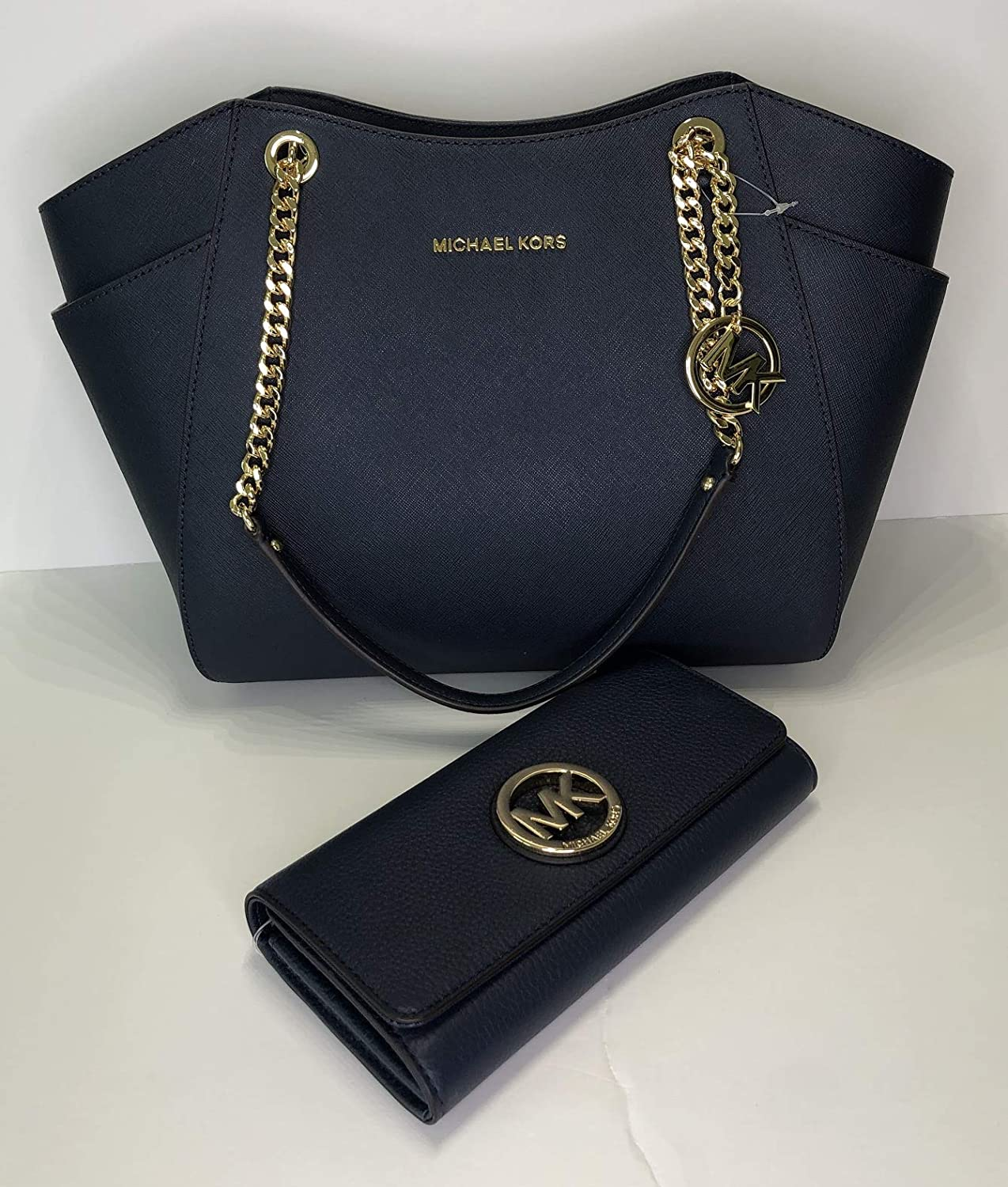 22d660519928 Amazon.com  MICHAEL Michael Kors Jet Set Travel Large Chain Shoulder Tote  bundled with Michael Kors Fulton Flap Continental Wallet (Blue Navy)  Shoes