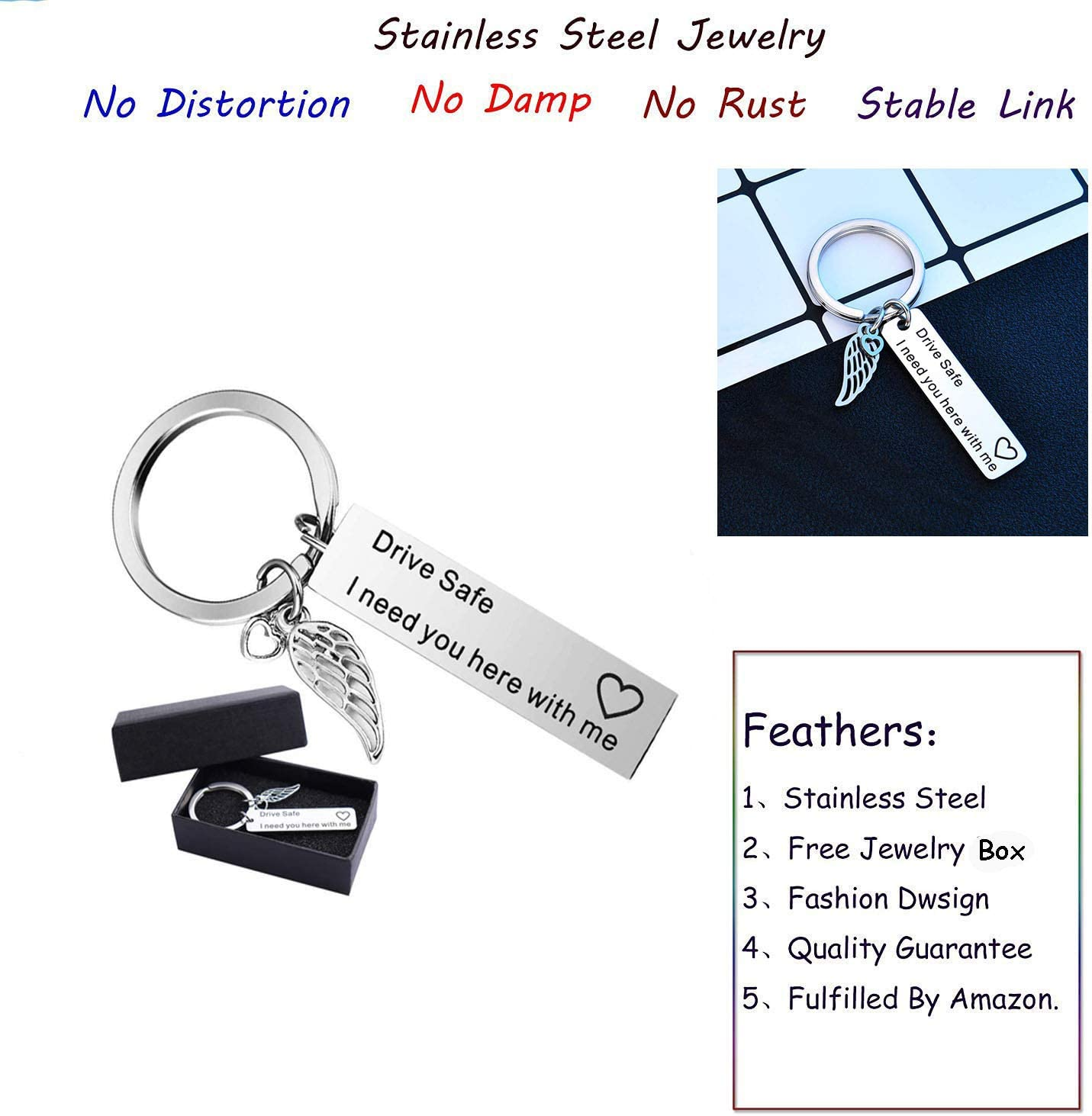 Silver Drive Safe Keychain,Key Rings Dad Boyfriend and Fathers Day Gifts Keychains Best Friend Gifts Key Chain Loves Keychain
