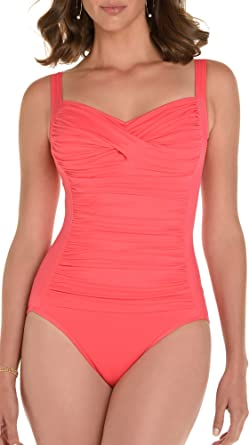 dfeb3f965ab Trimshaper Solid Ruched One Piece Suit at Amazon Women's Clothing store: