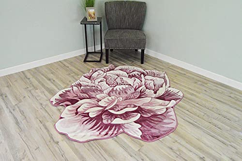Flowers 3D Effect Hand Carved Thick Artistic Floral Flower Rose Botanical Shape Area Rug Design 302 Pink 5 3 x5 3 Round