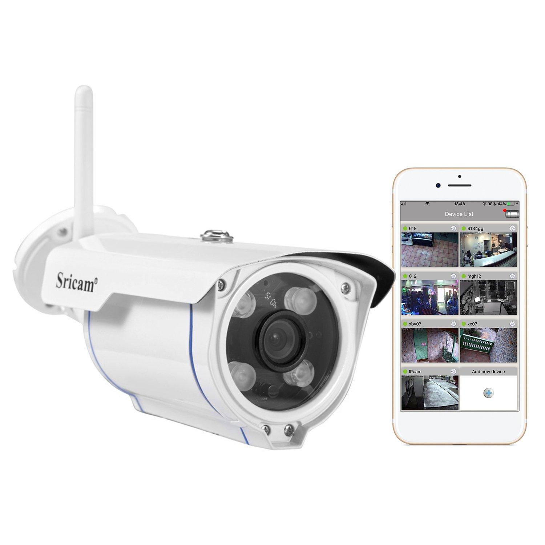 Sricam SP007 720P HD IP Kamera Draussen Wlan überwachungskamera mit Bewegungsmelder und Speicher(Wasserdicht, 15M IR Nachtsich, 65 ° Betrachtungswinkel)