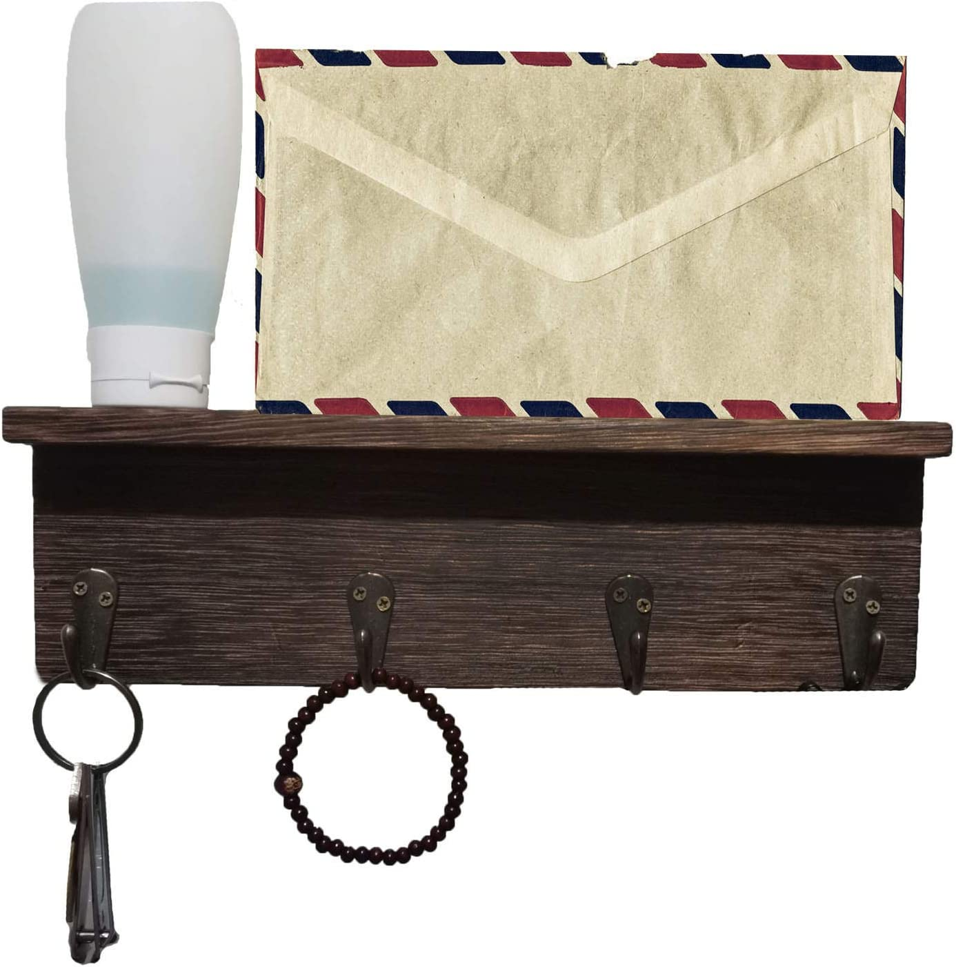 Key Holder Mail Shelf Wall Mounted- Wooden HooksOrganizerwith4 Key Rack,Wall DecorativeKey HooksHangers for Entryway, Storage, Living Room, Hallway, Office