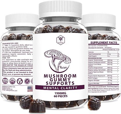 Mushroom Supplement Gummies, 10 in 1 Nootropics Brain Booster Supplement with Lions Mane Cordyceps Reishi Shitake Maitake Turkey Tails for Energy Memory Immune Support, 60 Pcs Vegan