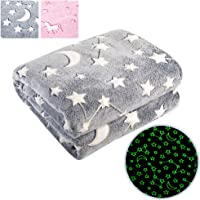 MAXYOYO Constellation Blanket Glow in Dark 50 x 60 Inches, Galaxy Moon and Stars Luminous Blanket Plush Throw Blanket Astronomy Gifts Space Gift for Women Kids Friends