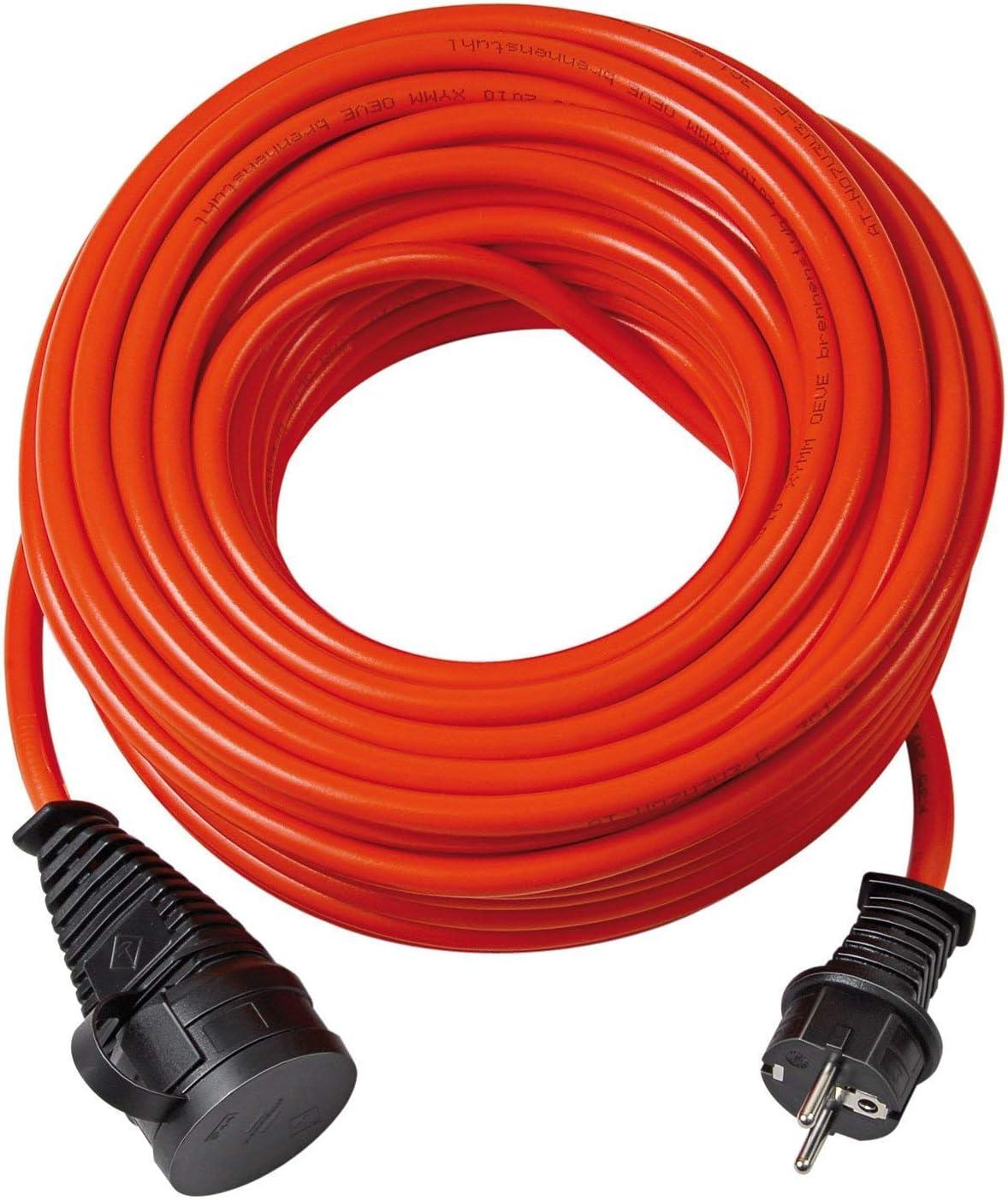 Brennenstuhl 1161590 Bremaxx, Cable alargador de Corriente, Uso Corto en Exteriores hasta-35°C, Resistente al Aceite, naranja, 10m