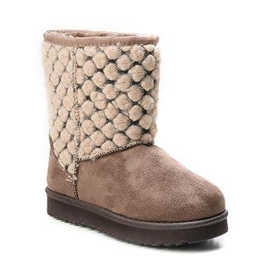 610be1d0333618 HERIXO Damen Baby Kinder Mädchen Junge Schuhe Winter-Boots Snowboots  Muster-Schaft Gemustert Schnee Fell-Stiefel warm dick gefüttert Futter  Schlupfstiefel  ...