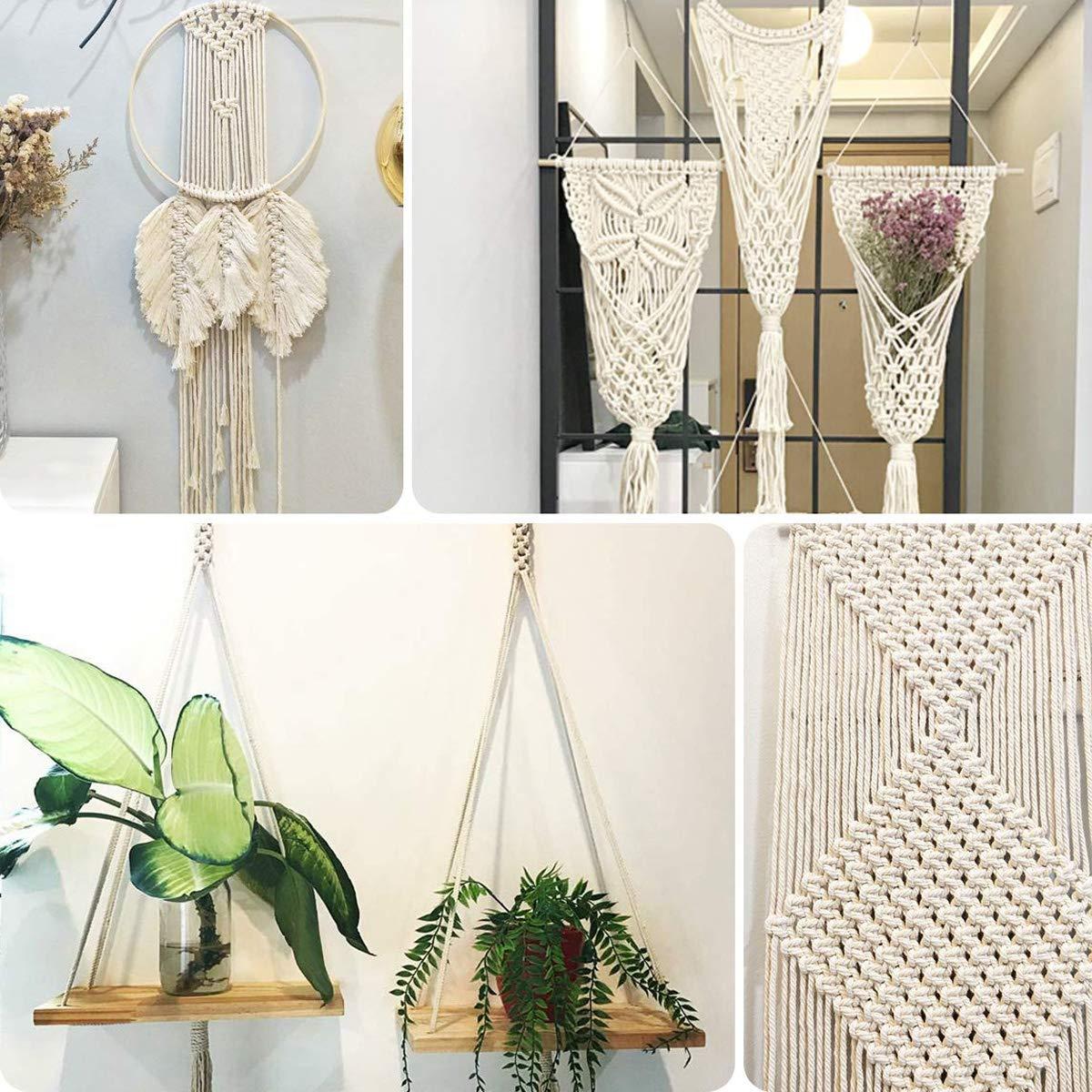 regalos para colgar plantas en el hogar color beige 4MM x 100Meters Cord/ón de macram/é de 1 mm a 10 mm de di/ámetro cuerda de macram/é de algod/ón resistente para manualidades colgar en la pared