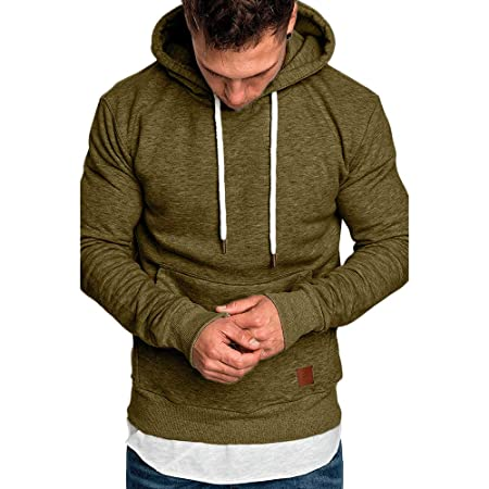 Amazon.com: Men Casual Sweatshirt,Boys Long Sleeve Autumn Winter Hoodies Top Blouse Tracksuits (L, Khaki 2): Electronics