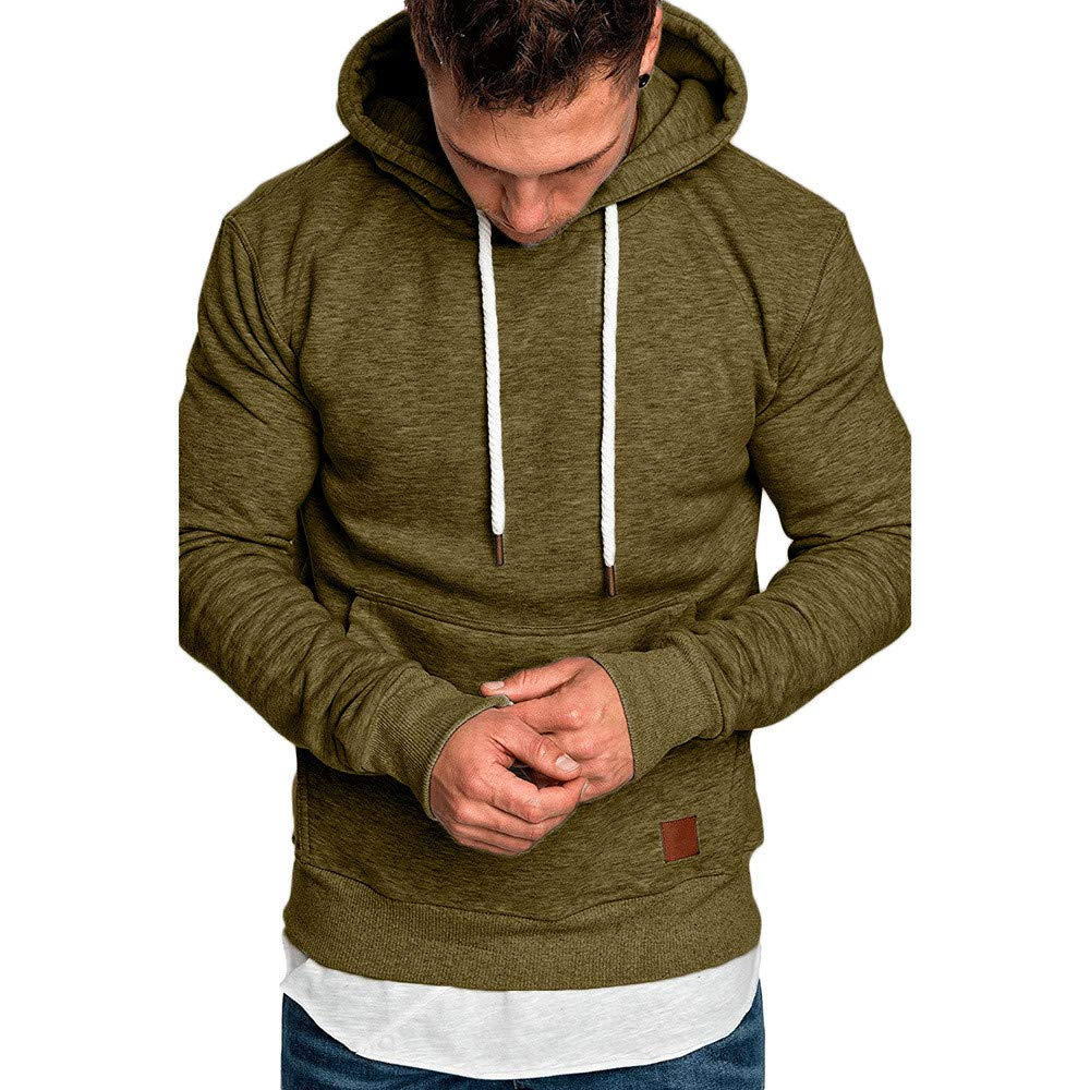 Men's Autumn Winter Sweatshirt Hoodies Hooded Top Blouse Tracksuits (US-S/CN-L, Army Green)