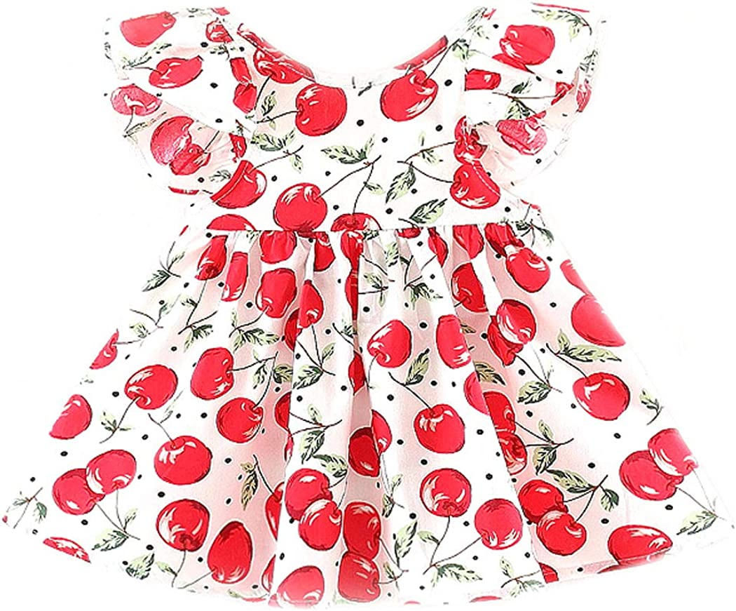 Mornyray Baby Kids Girls Cute Cherry Ruffled Backless Dress Short Sleeve Outfit